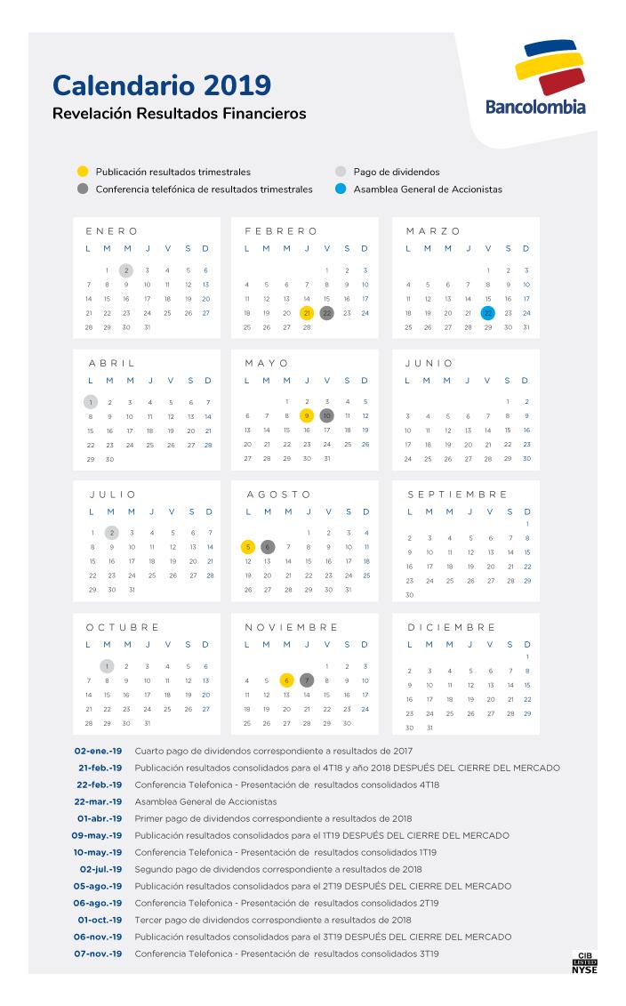 Calendario Financiero 2019.Relacion Con Inversionistas